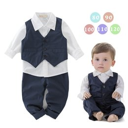 Wholesale Waistcoat Pants - Three Pieces Autumn 2017 Baby Boys Shirts with Waistcoats with Pants Children Fashion Casual Outfits Baby Clothing Baby Boy Clothes