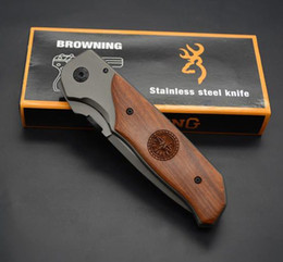 wooden handled knives Promo Codes - Browning Wooden Handle Knife DA30 Titanium Version Of High Hardness Rescue Knives Tools Tactical Folding Pocket Knife Camping Tool