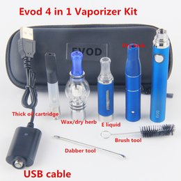 Wholesale Ecig Oils - Hot evod 4 in 1 Vaporizer Starter Kit Vape Pen rechangeable Tanks evod Starter ecig Kit dry herb wax oil CE3 atomizer