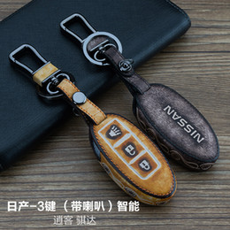 Wholesale Nissan Keys Cover - For Nissan Rogue  Qashqai Tiida 3 Buttons Smart High Quality Genuine leather Graffiti Remote Control Car Keychain key cover Auto Accessories