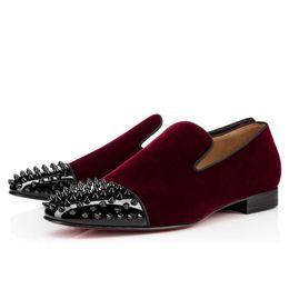 Wholesale Rivet Dress Plus Size - New Arrival Vintage Bordered Toe Rivets Studded Men Loafers Classical Mens velvet Casual Flats Shoes High Quality Plus Size