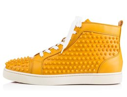 Wholesale Man Spike Street Shoe - Karmran Mens Genuine Leather Full Studs Rivets Spikes Fashion Sneakers Red Sole Street Dance Flat Shoes Yellow