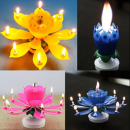 Wholesale Birthday Lotus Blossom - 2 Layer Petals Music Candle Children Birthday Party Lotus Sparkling Flower Candles Squirt Blossom Flame Cake Accessory Gift 500pcs OOA3015
