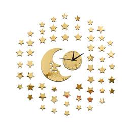 Wholesale Moon Watch Design - Moon Stars Wall Black Clock 3D Wall Mirror Sticker Clock Watch Mirror Stickers Home Decor Decals Wall Clock Fashion Design