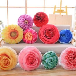 Wholesale Flower Sofas - 35cm Creative Removable Washable Simulation Flower Double-sided Printed Plush Pillow Toy Stuffed Sofa Cushions Kids Xmas Gift CCA8262 10pcs
