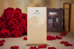 Wholesale Wedding Invitation Gold Printing - Gold purple red laser cheap cut wedding invitations cards hollow personalized Free print Engagement invitation card with envelope