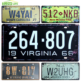 Wholesale Wholesale Decorative Metal Wall Art - Wholesale- United State Car License Metal Plate Vintage Home Decor Tin Sign Bar Pub Cafe Wall Decorative Metal Sign Metal Plaque Art Poster