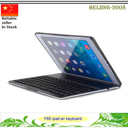 Wholesale Covers Para Ipad - F8S Colorful Backlighting bluetooth keyboard cover For ipad air case Aluminium alloy teclado para Smart Cover for ipad air with Stand 010242
