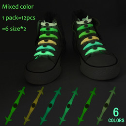 Wholesale Glow Stick Sets - 12pcs set Christmas Gift No Tie Shoelaces Luminous LED Shoe Laces Disco Party Night Running Flash Light Up Glow Stick Strap Shoelaces