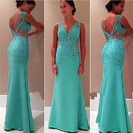 Wholesale Lace Up Turquoise Prom Dresses - Custom Made Sexy Hunter Turquoise Long Prom Dresses 2017 V-neck Sleeveless Applique Mermaid Long Evening Gowns
