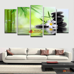 Wholesale Bamboo Art Painting - HD Canvas Prints 5 Piece Bamboo Stone Scenery Modern Home Wall Decor Canvas Picture Art HD Print Painting On Canvas For Home Decor