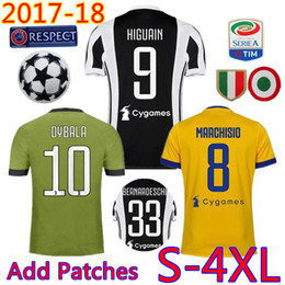 Wholesale Football Jersey Italy - Add Patches S-4XL Plus size Big Fat XXL XXXXL camicia di calcio 2017 2018 Italy Club soccer jersey HIGUAIN DYBALA Pjanic football shirt