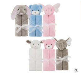 Wholesale Elephant Heads - Blanket Rabbit Bear Elephant Plush Baby Bedding Coral Fleece Animal Toy Head Blanket Newborn Baby Blankets 76*76cm Blankets Christmas Gifts