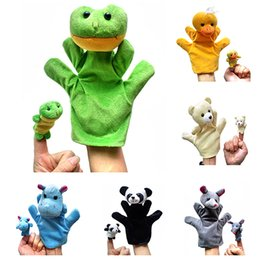 títeres parlantes Rebajas Wholesale-2PCS Lovely Kids Baby Plush Toys Finger Puppet Talking Props Animales Hand Puppets 7KZB