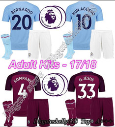 Wholesale G Kits - AAA+ Quality 2017-18 New G. JESUS 33 Mens Home Away Kit + socks,17 18 Adult HOME   AWAY Men Kits Bernardo G.Jesus DZEKO KUN AGUERO jersey
