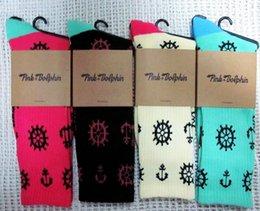 Wholesale Dolphin Socks - Wholesale-24pcs=12pair cotton Fashion 4 colors pink dolphin anchor rudder thicken bottom hiphop Skateboarding Sport Socks 24pcs lot