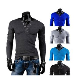 Wholesale Mens Dress Shirt Color Solid - 2016 Mens Fashion Cross Line mens Slim Fit Dress t Shirts Tops Western casual V-neck long-sleeved t-shirt M-XXL