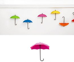 Wholesale Colorful Clothing Racks - 6PCS Set Colorful Umbrella Shape Wall Hooks Umbrella Shape Wall Decor Racks Wall Organizer Containers for Kitchen Bathroom Key Jewelry