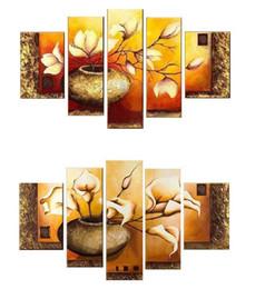 diy red girasoles Promotion Livraison Gratuite Vente Chaude Moderne Mur Peinture blanc Fleurs Accueil Décoratif Art Image Peinture sur Toile 5 panneau toile art HH5001