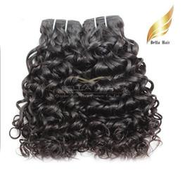 Wholesale Natural Human Hair Extensions 24 - Malaysian Hair Weaves Deep Curly Water Wave Natural Human Hair Extensions Double Weft Natural Color 4pcs lot Bellahair