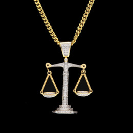 Wholesale Bling Crosses - Iced Out Zircon Balance Libra Scale Pendant Bling Charm White Gold Copper Material Mens Hip hop Pendant Necklace Chain
