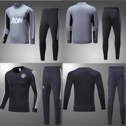 Wholesale Xxl Size Suits - AAA+quality2017 2018 Man Utd POGBA Football jacket tracksuit 17 18 LUKAKU de foot LINDELOF UNITED MKHITARYAN jacket Training suit SIZE S-3XL
