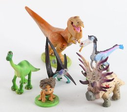 Wholesale Dinosaur Action - 6pcs set Anime The Good Dinosaur Plastic Action Figure Colletable Model Toy for kids gift free shipping EMS