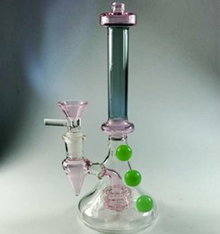 Два мяча онлайн-19 см розовое стекло бонги с чашей 14.4 мм зеленый шар для некурящих водопроводные трубы розовые шины Перклатор два Fuction стеклянные бонги с пеной коробка