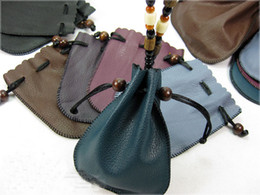Wholesale Leather Jewelry Pouches - PU Leather Drawstring Jewelry Gift Bags Pouches Container Storage Pouch Belt beads prayer beads bags 6 Different Colors