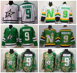Wholesale Throwback Jerseys Dallas - Dallas Stars 9 Mike Modano Ice Hockey Jerseys Throwback Retro Team Color Green Alternate White All Stitching Top Quality