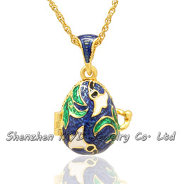 Wholesale Easter Lily Pendant - Wholesale jewelry stylish high quality women Russian lily flower Easter egg pendant locket necklace hand enameled Valentines Day gifts