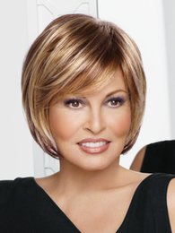 Wholesale Medium Length Blonde Wigs - Free shipping Modern Synthetic wigs for women Medium length straight brown bob hairstyles wig with bangs