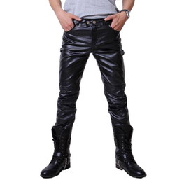 pantaloni di cuoio all'ingrosso del faux Sconti All'ingrosso-2016 Hip Hop Mens pantaloni di pelle Faux Leather Pu Materiale 3 colori Moto Skinny Faux Leather Outdoor Pants