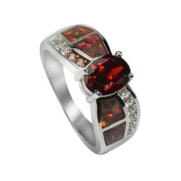 Wholesale Gem Charm Ring - New Design Luxury Ruby Fire Opal Gem 925 Silver Rings For Women Wholesale Fine Jewelry for Party Charm Wedding Ring for Bridal
