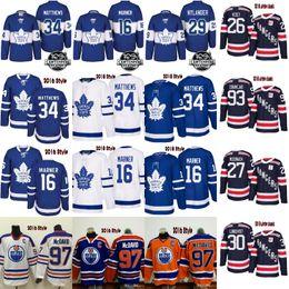 Wholesale Xl Hockey Jersey - 2018 100th Classic Maple Leafs 34 Auston Matthews 16 Mitch Marner Oilers 97 Connor McDavid rangers 30 lundqvist 27 mcdonagh zibanejad Jersey
