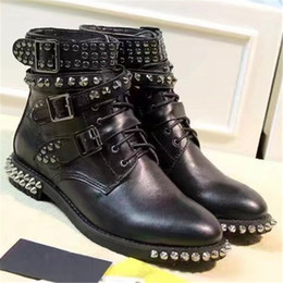 Wholesale Vintage Shoes Sale - Hot Sale 2017 Brand Designer Women Punk Boots Rivet Motorcycle Martin Boots Lace Up Fashion Vintage Shoes Genuine Leather Roman Shoes A80