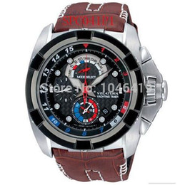 Wholesale Battery Signs - Free shipping new men's SPC041 SPC041P   1 leather strap Chronograph + sign