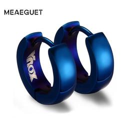Wholesale Hoop Huggies - Meaeguet 4mm Wide Fashion Gold-Color Round Hoops Earrings For Women Small Stainless Steel Circle Aros Huggies Earrings Jewelry