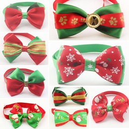 Wholesale Christmas Dog Ties - Christmas Reflective Dog Bow Tie Fashion and Cute Cat Puppy Necktie Necklace Pet Accessories Dogs Collar