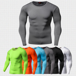 Wholesale anti fashion clothing - New arrival Quick Dry Compression Shirt Long Sleeves Training tshirt Summer Fitness Clothing Solid Color Bodybuild Gym Crossfit