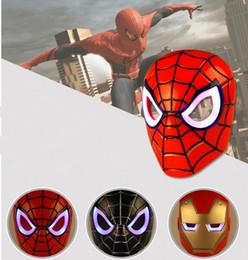 Wholesale Hulk Cosplay - Cartoon Movie Mask LED Glowing Party Cosplay Masks Halloween Children Mask Spiderman Iron Man Hulk Masquerade Full Face Masks KKA2331