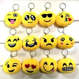 Catene di smiley online-6cm nuove portachiavi emoji smiley piccolo ciondolo emozione giallo qq espressione peluche ripiene bambola giocattolo per pendente borsa mobile