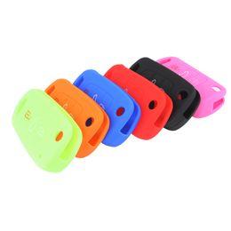 Wholesale Kia Sorento Wholesale - Durable 6 Colors 3 Buttons Flip Folding Silicone Key Cover Holder Shell fit for KIA RIO K2 K5 Sportage Sorento AUP_40L