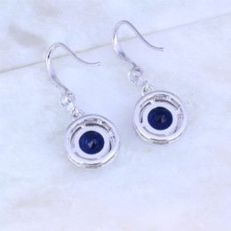 Wholesale Jade Sapphire Blue - Hot Selling Blue Sapphire White Cubic Zirconia Silver Plated Round Drop Earrings for Women J0339 earring packing