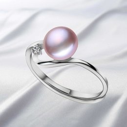 Wholesale Natural Pearls Wedding Sets - 2016 Fashion Natural Pearl Jewelry Beautiful Wedding Bands Pearl Ring with Adjustable Size Ring For Women Bijoux Jewelry Gift