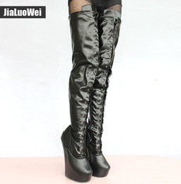 Wholesale Platform Thigh Boots - DHL Free 2018 New 20cm High Heel Pony Heelless Strange Style Sole Heelless 5cm Platform Cross-tied Fetish Shoes Sexy Crotch High Boots