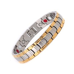 Wholesale Ip Set - Hot Sale Energy Magnetic Health Bracelet Men health Style IP Plated Gold Silver Stainless Steel Bracelets For Men OSB-275