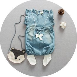 Wholesale Size One Summer Clothes - Summer babies romper clothes Baby girls ruffle fly sleeve jeans romper kids Bows wish denim jumpsuit children Bodysuits Girl one-piece A9342
