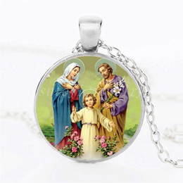 Wholesale Catholic Wholesalers - 2017 Besting Men Jesus Cross Christ Catholic Necklace Round Glass Dome Pendant Mary Mother Of Baby Necklaces Jewelry Gift For Women