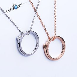 Wholesale Personalized Couple Gifts Alloy - New romantic pendant necklaces personalized Forever word ring necklaces simple couple jewelry free shipping
